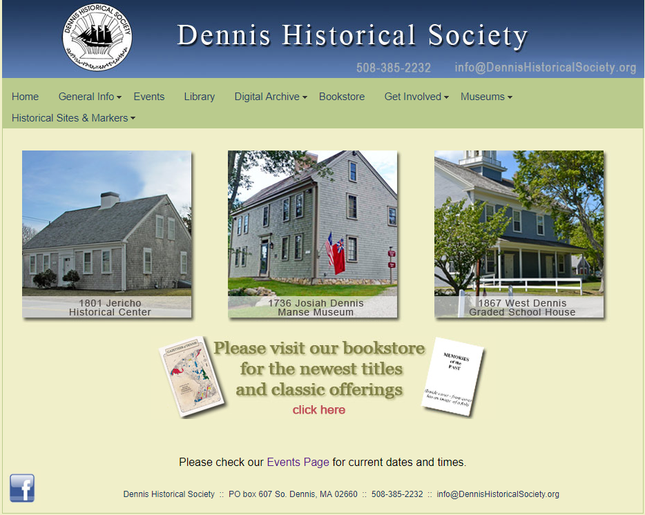 The previous version of the Dennis Historical Society website